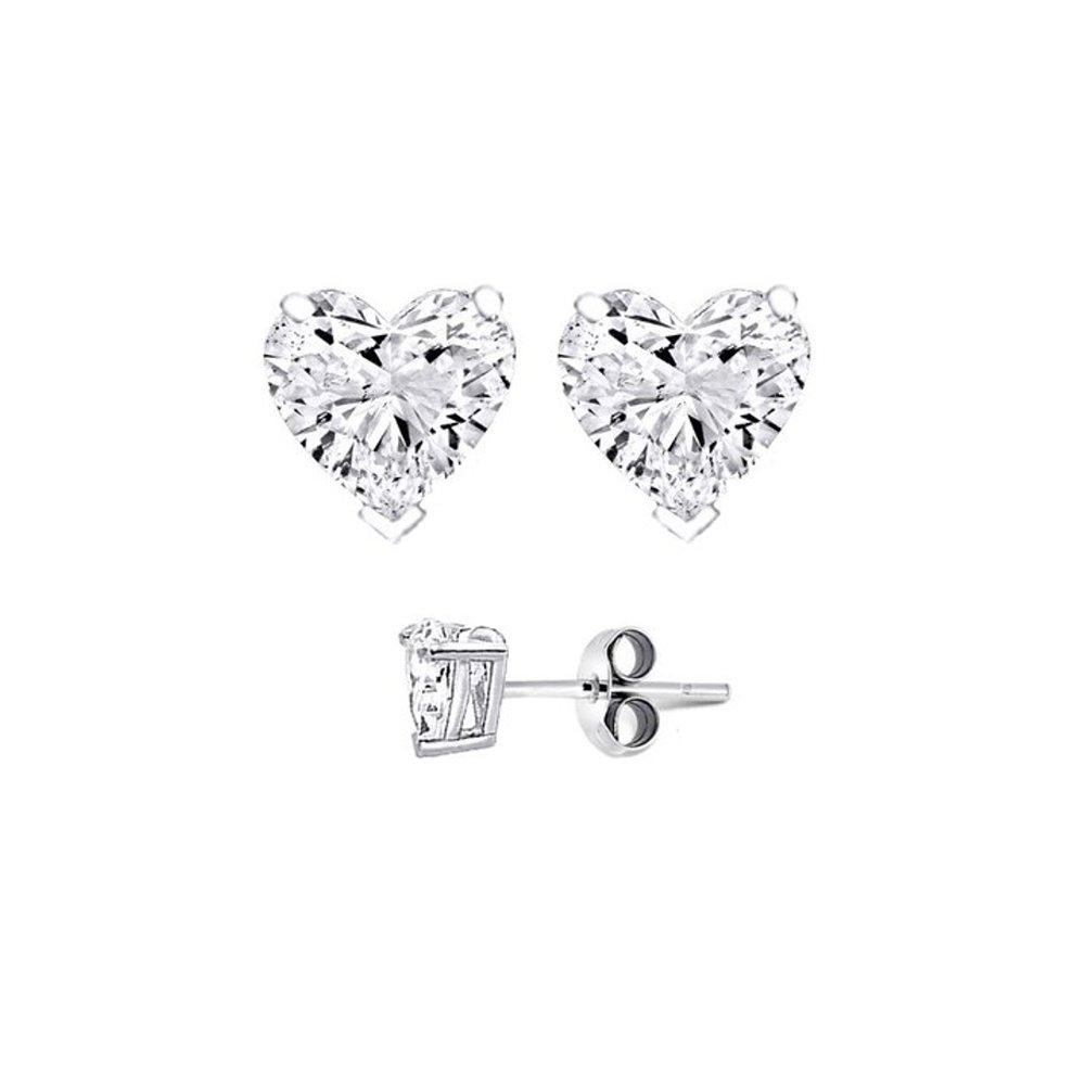 Authentic .925 Sterling Silver Heart Shaped Stud Earrings 8mm 3.00 Carat Total Weight