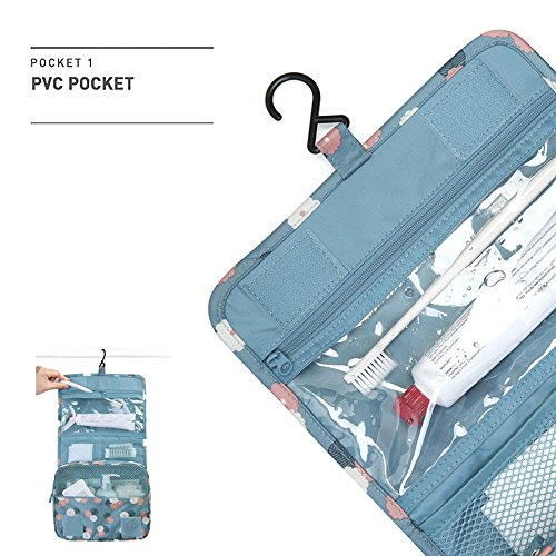 01cd563e4c Pockettrip Hanging Toiletry Kit Clear Travel BAG Cosmetic Carry Case  Toiletry (Flower in Sky Blue