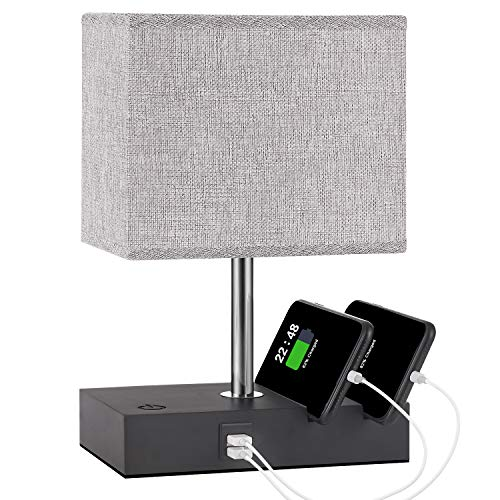 Touch Control Bedside Lamp with 2 USB Ports, Aooshine USB Table Lamp with 2 Phone Stands and Low Voltage Led Bulb, Grey…