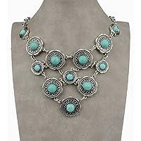 Siam panva Thboxs Tibetan Silver Genuine Turquoise Bib Collar Statement Pendant Necklace