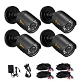 Anlapus 1801N 720P 36 IR LEDs with IR Cut 100FT/30M Night Vision Outdoor Weatherproof Waterproof Security Surveillance CCTV Home£¨4 Pack£