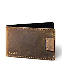 Slim Leather Credit Card Holder for Men - Minimalist Front Pocket Wallet with Elastic Money Clip
