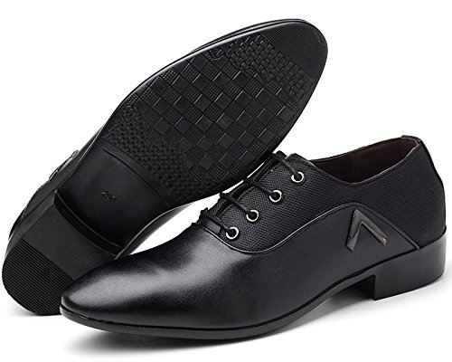 Dress Derby Brown Plain up Lace Shoes Pointed Casual Mens Toe Shoes PU missfiona Oxford Leather Mesh ZHqYg05w