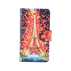 Generic Colorful Eiffel Tower Design Card Slot Magnetic PU Leather Flip Case Cover For Nokia C7 C7-00