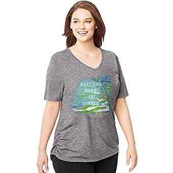 8828c67249e Amazon.com  Just My Size Women`s Plus-Size Short-Sleeve V-Neck Graphic  T-Shirt with Side Shi  Clothing