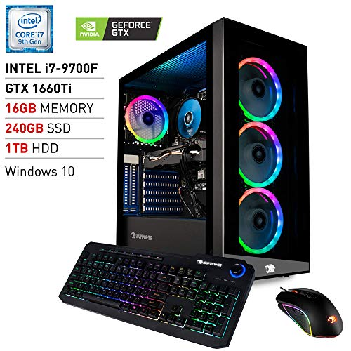 iBUYPOWER Gaming PC Computer Desktop Element 9260 (Intel Core i7-9700F 3.0Ghz, NVIDIA GeForce GTX 1660 Ti 6GB, 16GB DDR4…