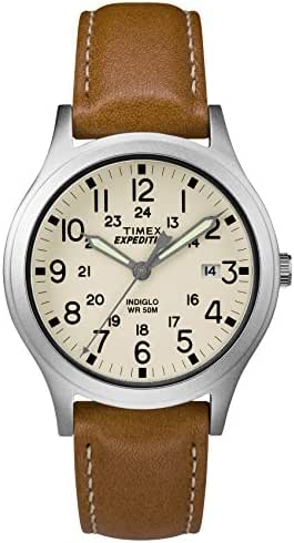Timex Unisex TW4B11000 Expedition Scout 36mm Tan/Silver/Natural Leather Strap Watch