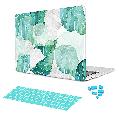 Batianda Gradient Green Banana Leaves Tropical Plants Design Watercolor Painted Protective Hard Case Cover for MacBook Air 13 inch Model Number A1369/A1466 with Keyboard Skin by Batianda