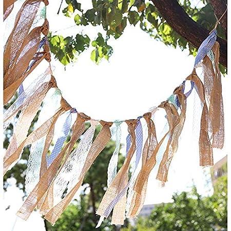 Outflower Bander/ín Encaje Blanco con Cinta para Bonita puede Usar Interiores y Exteriores Bandera Colgante Colorido