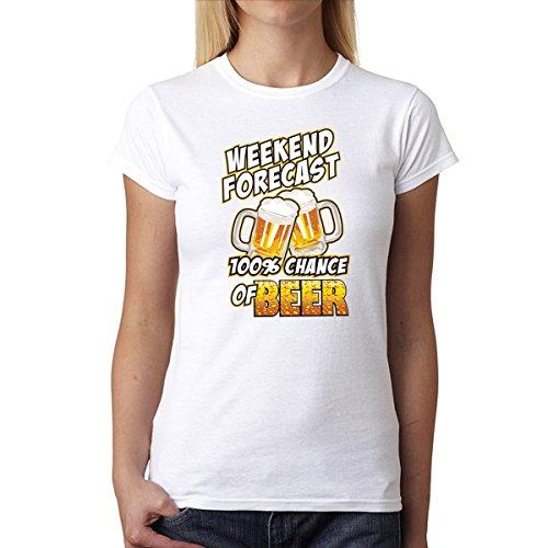 100% Chance Of Beer Mujer Camiseta XS-2XL Nuevo Blanco