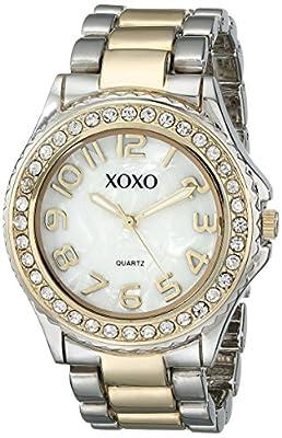XOXO Women's XO5474 Rhinestone Accent Two-Tone Analog Bracelet Watch