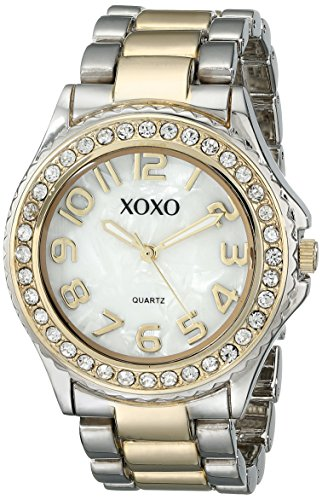 XOXO Women's XO5474 Rhinestone Accent Two-Tone Analog Bracelet Watch ()