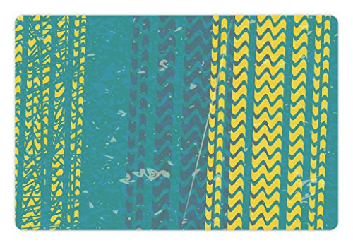 (Lunarable Dirt Bike Pet Mat for Food and Water, Grunge Style Tire Tracks Pattern with Swirled Lines Dirt Bike Outdoor Sports, Rectangle Non-Slip Rubber Mat for Dogs and Cats, Teal and Yellow)