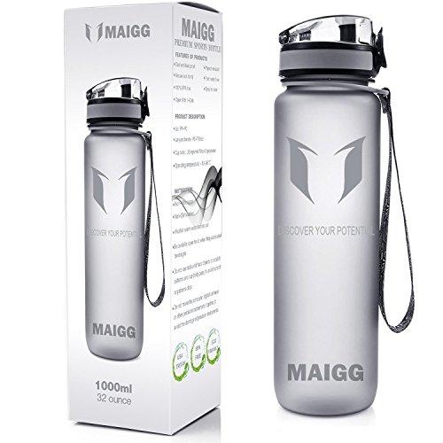 MAIGG Best Sports Wasser-Flasche Trinkflasche - 32oz - Eco Friendly & BPA-freiem Kunststoff - für das Laufen, Fitness, Yoga, Im Freien und Camping - Schnelle Wasserdurchfluss , Flip Top, öffnet sich mit 1-Click - Wiederverwendbare mit dicht schließendem Deckel
