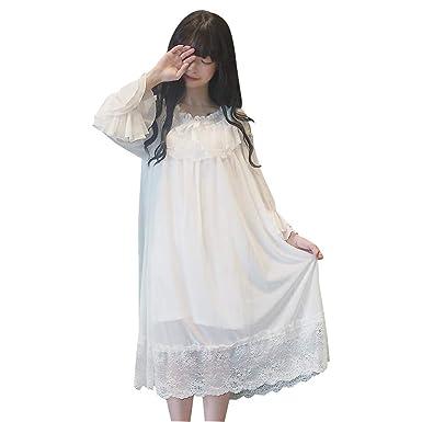 c5dcb3df27 YOMORIO Womens Vintage Lace Pajamas Lolita Victorian Lingerie White Gothic  Sleepwear