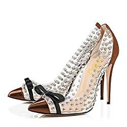 Brown Studded Pointed Toe Transparen Heels with Bowknot