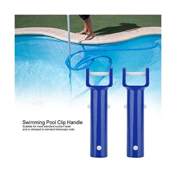 Mumusuki Piscina V Shape Clip Brush Head Handle Accessori per la Piscina di Ricambio Strumenti di Pulizia Blue 2Pcs 7 spesavip