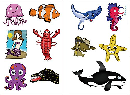 Premium Ocean Animal (Under the Sea) Tattoos: Killer Whale, Mermaid, Fish, Walrus, (Little Mermaid Sea Creature Costumes)