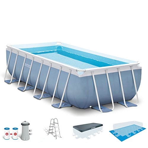 Intex 16ft X 8ft X 42in Rectangular Prism Frame Pool Set with Filter Pump, Ladder, Ground Cloth & Pool Cover by INTEX
