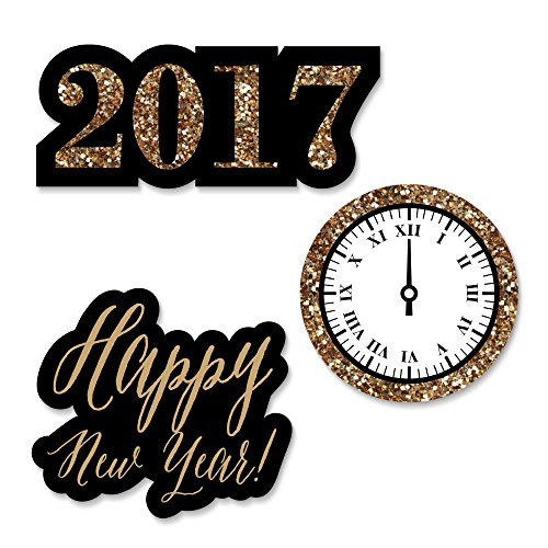 New Year's Eve - Gold - DIY Shaped New Years Eve Party Cut-Outs - 24 Count