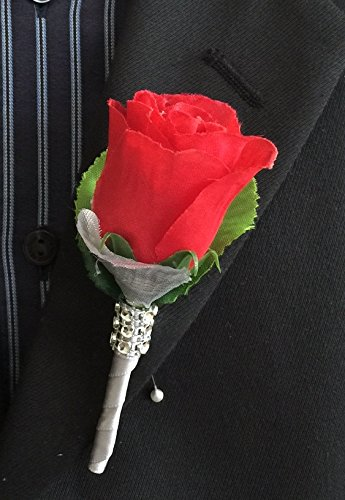 - Boutonniere - Red Rose with Silver Rose Petal, Gray Ribbon Stem(pin Included)