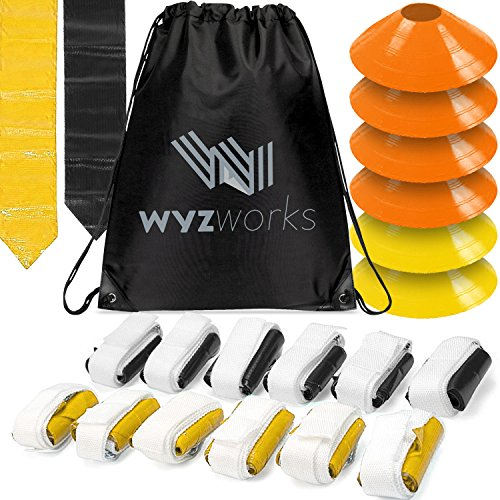 WYZworks 12 Player 3 Flag Football Kit Set - 12 Belts with 36 Flags [ 18 Black & 18 Yellow Flags ] Bonus 6 Cones + Travel Bag