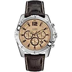Guess W0166G2 mm Stainless Steel Case Brown Leather Mineral Men's Watch