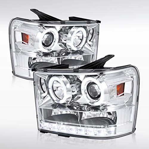 Autozensation For GMC Sierra 1500/2500 HD Denali Chrome Halo LED Projector Headlights Pair (Gmc Sierra Halo Projector)