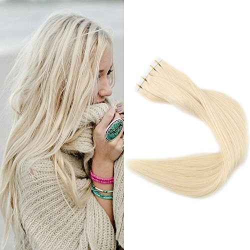 Full Shine 18 Inch Popular Multi-Colors Light Blonde (#60) Tape in Premium Remy Human Hair Extensions 40 Pcs Per Set 100g Weight Straight Human Hair Tape Hair Extensions