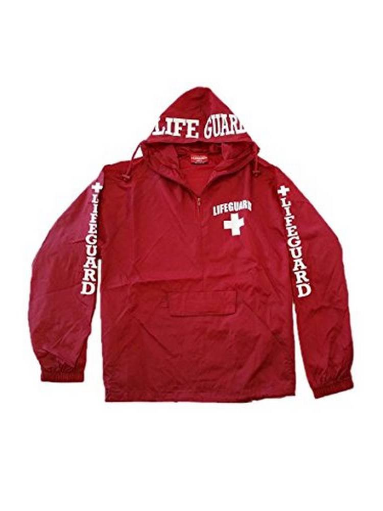 Officially Licensed LIFEGUARD Quarter Zip Nylon Pack-Away Windbreaker Jacket