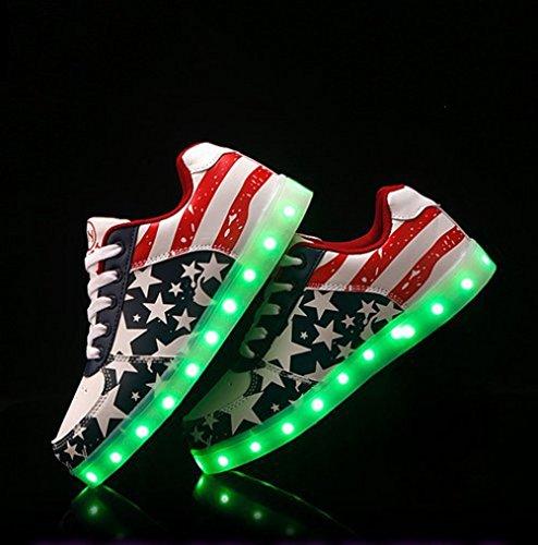 (Presente:pequeña toalla)JUNGLEST® LED Light 7 color Shoes zapatillas para hombre USB carga de techo luces intermitentes de calzado de deportes zapati c36
