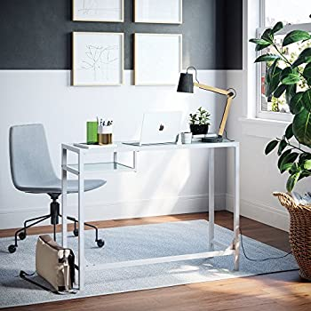 Amazon coaster contemporary world map writing desk with nathan james 52002 computer deskmakeup table white glass gumiabroncs Gallery