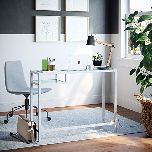 Nathan James 52002 Computer Desk/Makeup Table, White (Glass) - Studio Corner Glass Shelf