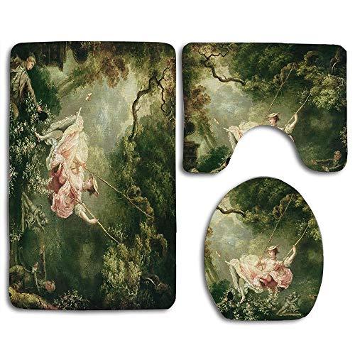 (Jean-Honore Fragonard The Swing 18th Century Toilet Seat Cover Bath Mat Lid Cover,3pcs/Set)