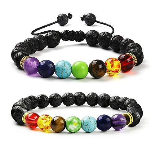 - fomissky-sisa Aromatherapy Lava Bead Diffuser Essential Oil Bracelets for Women, Yoga 7 Chakra Healing Bracelet 2 Set