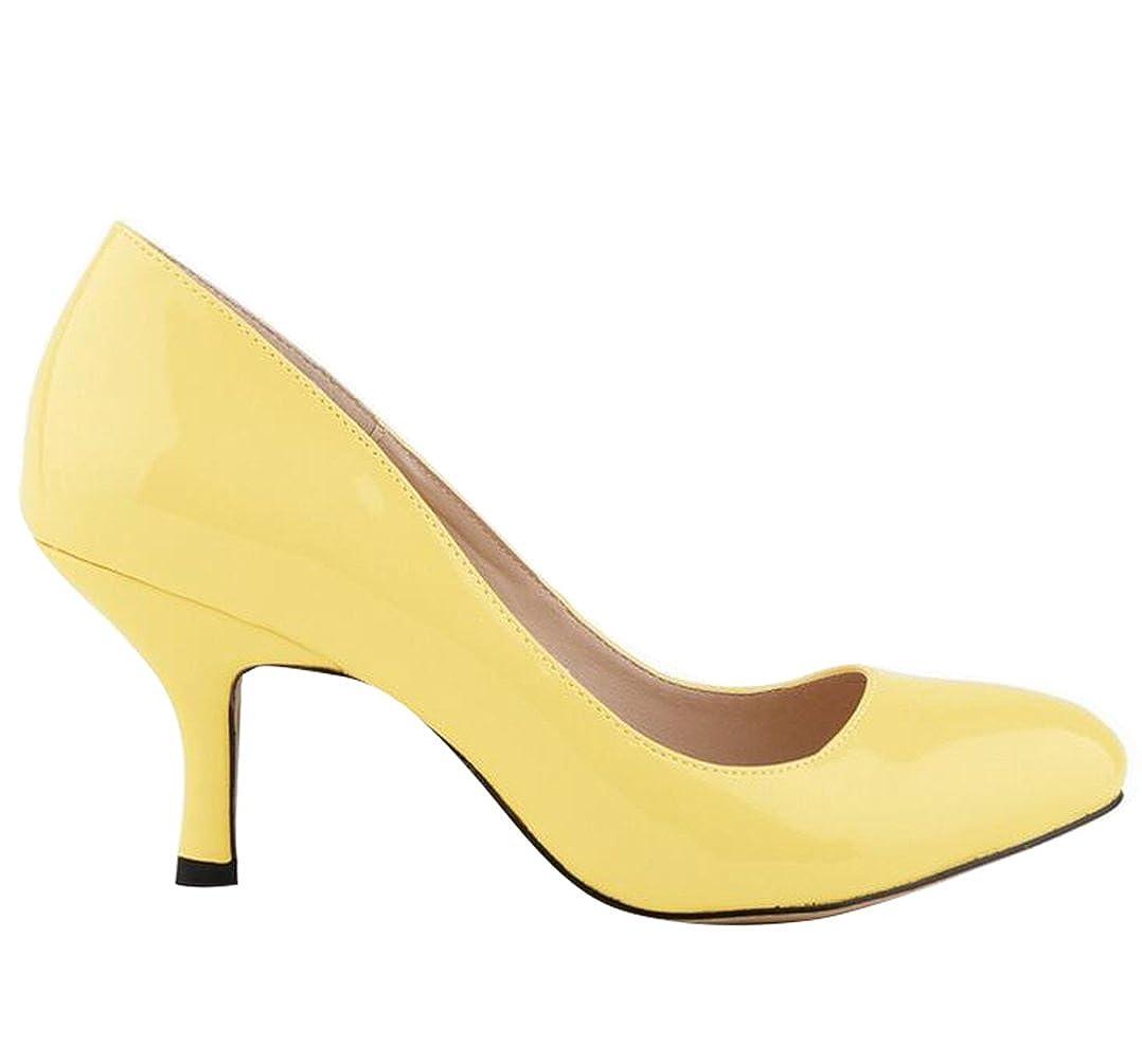 WanYang Donna Scarpe col Tacco Classiche Scarpe col Tacco Scarpe Scarpe Scarpe a punta Kitten Heel Shoes Giallo 3e2824