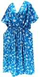 LA LEELA Likre Printed Long Caftan Dress Girl Bright Blue_694 OSFM 14-22W [L-3X]