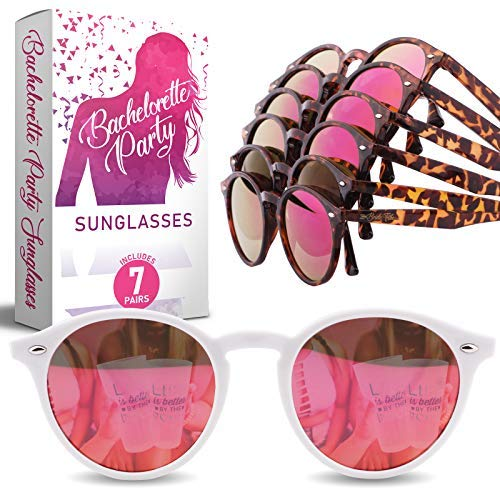 Bachelorette Party Sunglasses for Team Bride - 7 Bride Tribe Mirrored Pink Lens Glasses - Perfect Bridesmaids Favors, Bridal Shower Ideas - Instagram Worthy Bachelorette Party Decorations/Supplies -