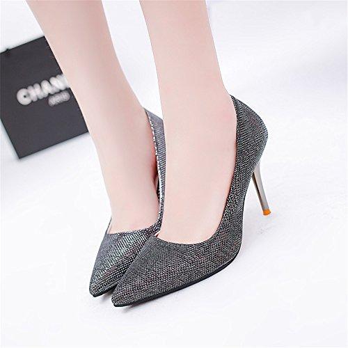 TMKOO 2017 de primavera y verano zapatos de moda señalaron los tacones altos talones del club nocturno coreano Negro