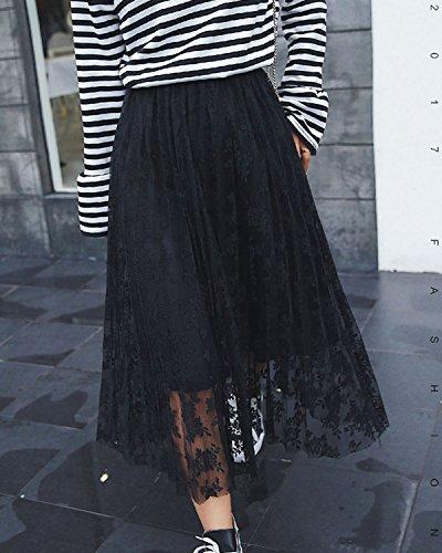 Femme Dentelle Longue Noir Bohémienne Haute Rétro Vintage Plissées Aeneontrue Taille Casual Jupe Maxi USnTAq