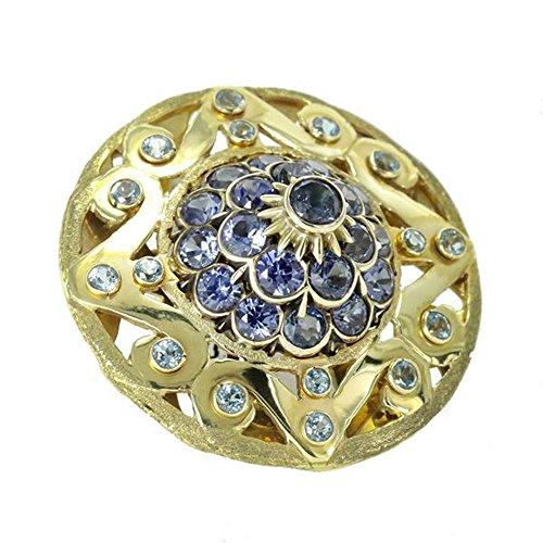 14k yellow gold Ceylon sapphire and blue topaz pin Blue Sapphire Gold Brooch