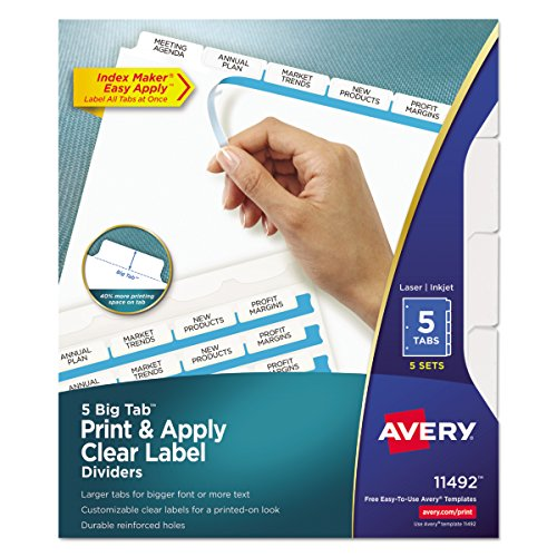 Avery Big Tab Dividers, Print & Apply Clear Label, Index Maker Easy Apply Strip, 5-Tab Dividers, 5 Sets (11492) Avery Index Maker White Dividers