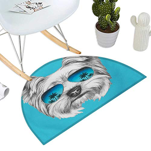 Yorkie Half Round Door mats Yorkshire Terrier Portrait with Cool Mirror Sunglasses Hand Drawn Cute Animal Art Bathroom Mat H 19.7