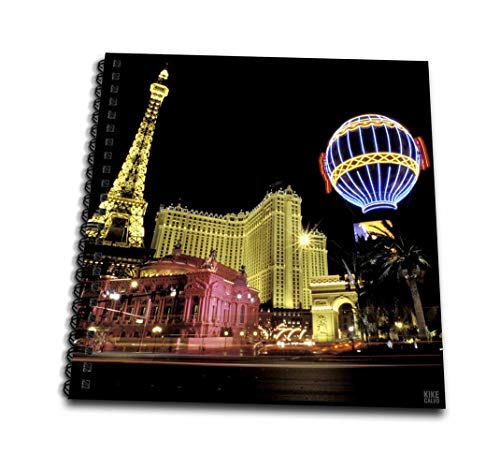 - 3dRose 3D Rose Paris Hotel and Casin at Las Vegas Strip United States-Memory Book, 12-inch (db_37789_2), 12
