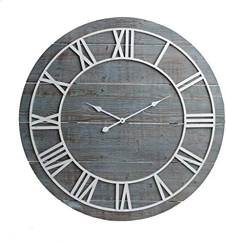 36″ Rustic Washed Gray Wood Plank Frameless Wall Clock