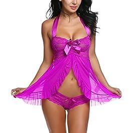 Avidlove Women Nightwear Lace Babydoll Strap Chemise Halter Lingerie