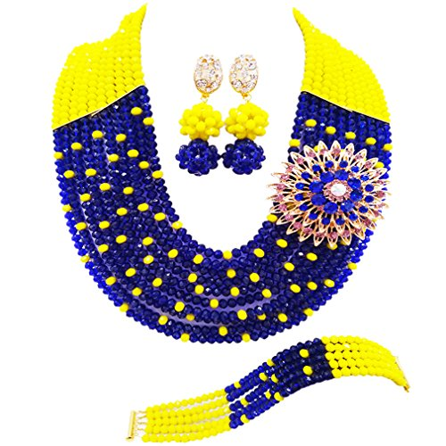 Yellow Jewelry Beaded Set (aczuv 10 Layers Multi Strands Statement Necklace Nigerian Wedding African Beads Jewelry Set Crystal Beaded Bridal Party Jewelry Sets for Women Girls (Opaque Yellow Royal Blue))