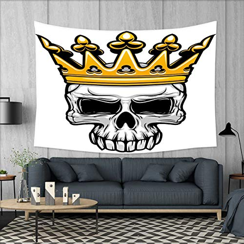 smallbeefly King Queen Size Tapestry Table Cover Bedspread Beach Towel Hand Drawn Crowned Skull Cranium with Coronet Tiara Halloween Themed Image Dorm Decor 71