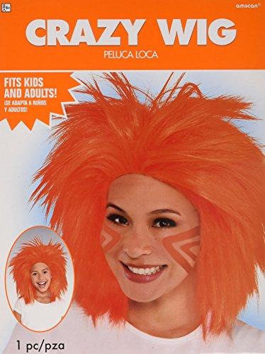 AMSCAN Crazy Wig Halloween Costume Accessories, Orange, One -
