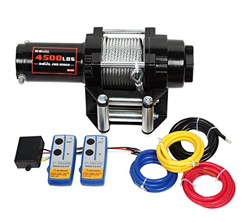 X-BULL 12V 4500LBS/2045kg Winch Wireles Boat Electric Steel Cable 2 Remote ATV ()